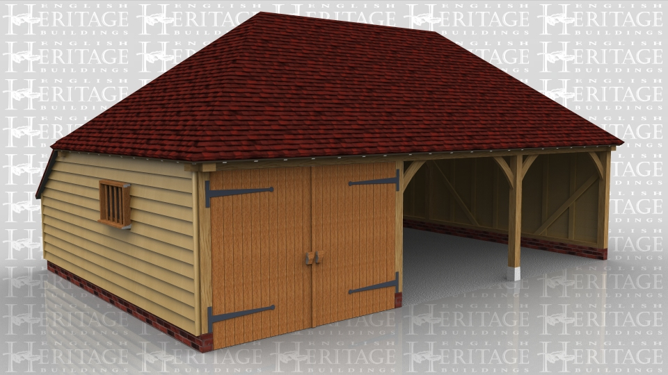 This is a 3 bay garage with double hipped roof and rear catslide. The left hand bay is a secure garage bay with a partition and pair of garage doors. The other two bays are open fronted car spaces.