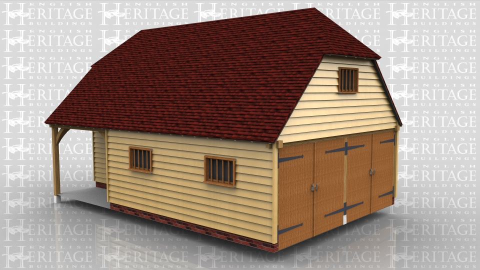 This oak framed home leisure building has three bays, with two bays as secured parking accessed through the end with two pairs of garage doors.The third bay is a workshop / store with a covered porch area. There is a solid single door into the garage and a half glazed single door into the workshop. The garage has two mullion windows and the store has a three light casement window. There is a floor over the workshop which is accessed from within the garage.