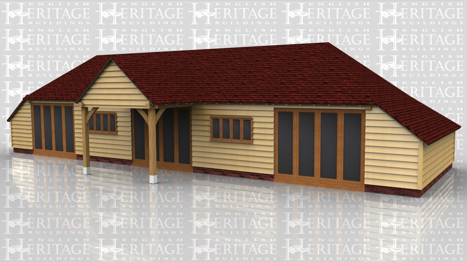 This building is a large summerhouse/garden room/playroom. It has five bays with an enclosed store to both ends and the rear. It also has a double barn entrance on the front to act as a covered porch area. There are three sets of fully glazed opening doors and two four light casement windows in the front elevation. The rafters are in oak, including four feature trusses, and the roof is insulated to a warm roof specification.