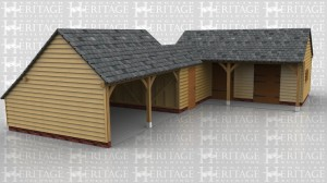 This oak framed complex of buildings comprises of an open fronted two bay garage coonected to a small store, which is accessed via a solid single door and has a two pane casement window in the rear. This in turn is attached to a two bay building which has a roof overhang at the front. One bay is a stable with a stable door and mullion window, the other bay is a feed and hay store which has a wide solid single door at the front and a pair of silid single doors in the end. This room also has a two pane casement window.