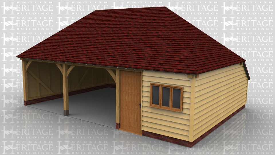 This oak framed three bay building has two open garage bays and the third bay  enclosed with partitions. There are two doors into this storage/workshop area, a wide solid single door in from the garage area and a normal solid single door in the front elevation with a three pane casement window next to it.