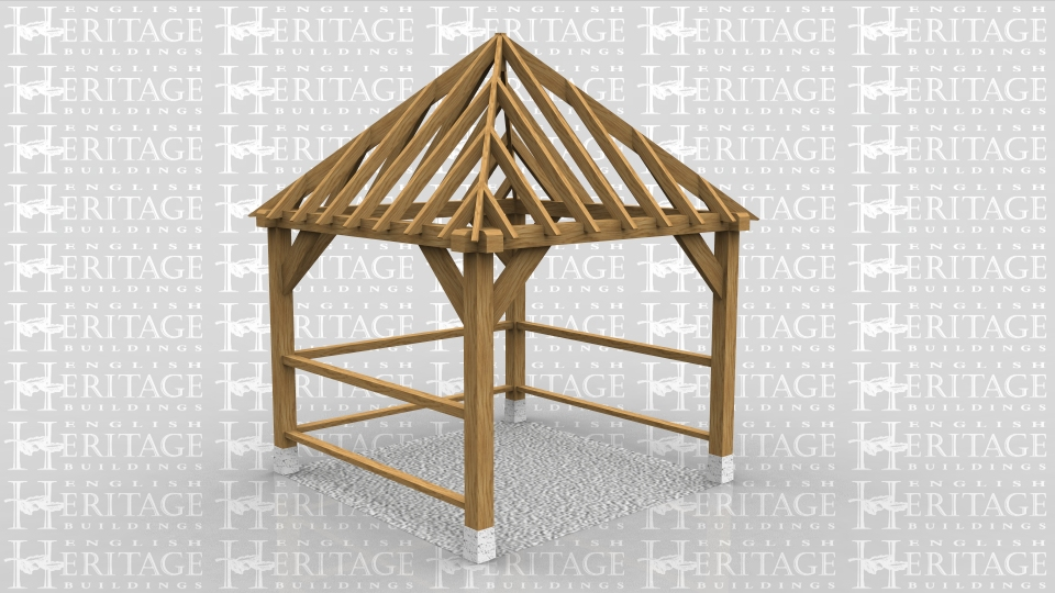 This is a square gazebo with solid balustrading on 3 sides.