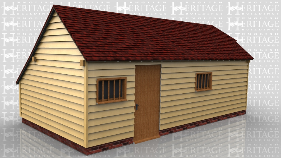 This oak framed home leisure building is formed of three enclosed bays, with an enclosed store to the rear. There is a single door to the front and a two mullion windows. There is also a garage door to the right hand side.