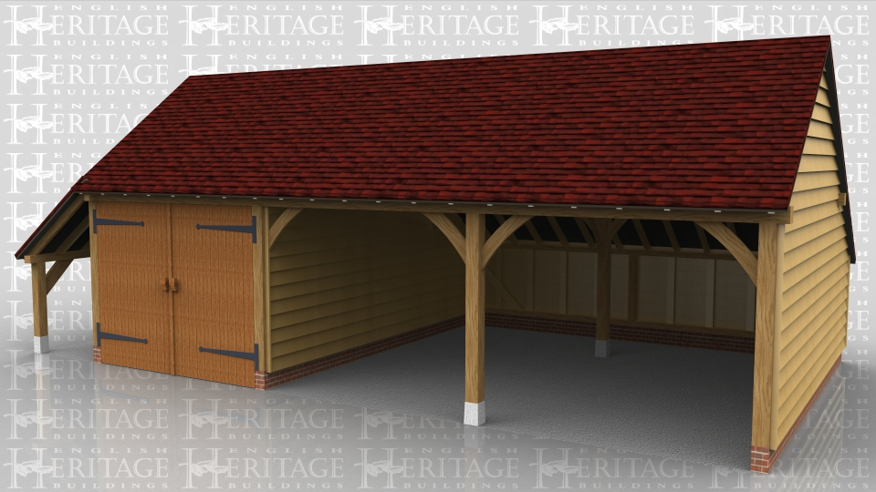 This is a 3 bay garage with gable ends and a rear enclosed catslide and a side open catslide for log storage. One bay is secured with a partition and pair of garage doors.