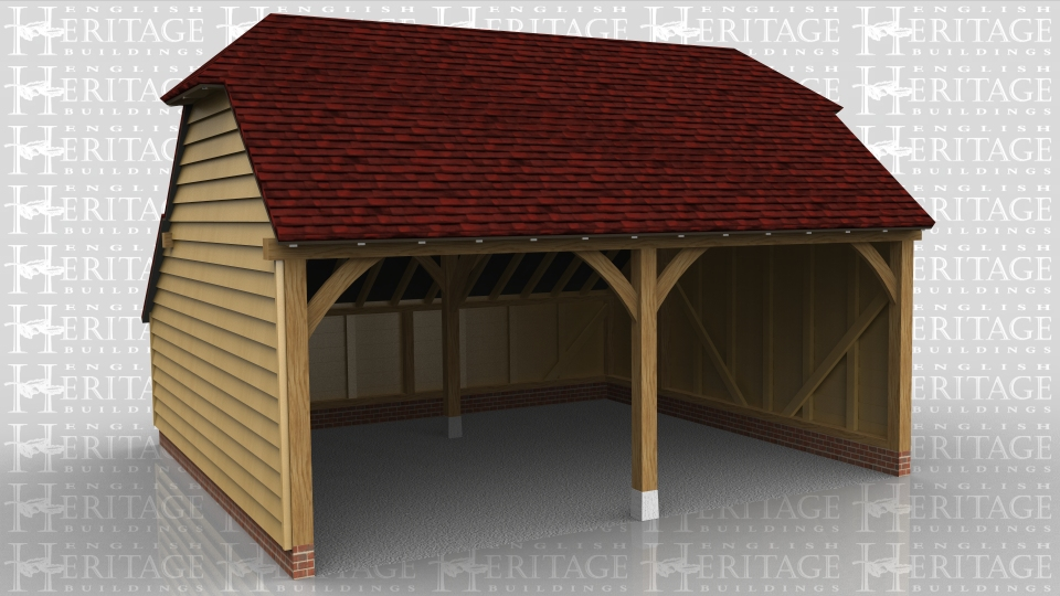 This is a 2 bay open fronted garage with barn hip ends and a rear enclosed catslide to keep the ridge below 4m whilst giving a usuable internal floor area.