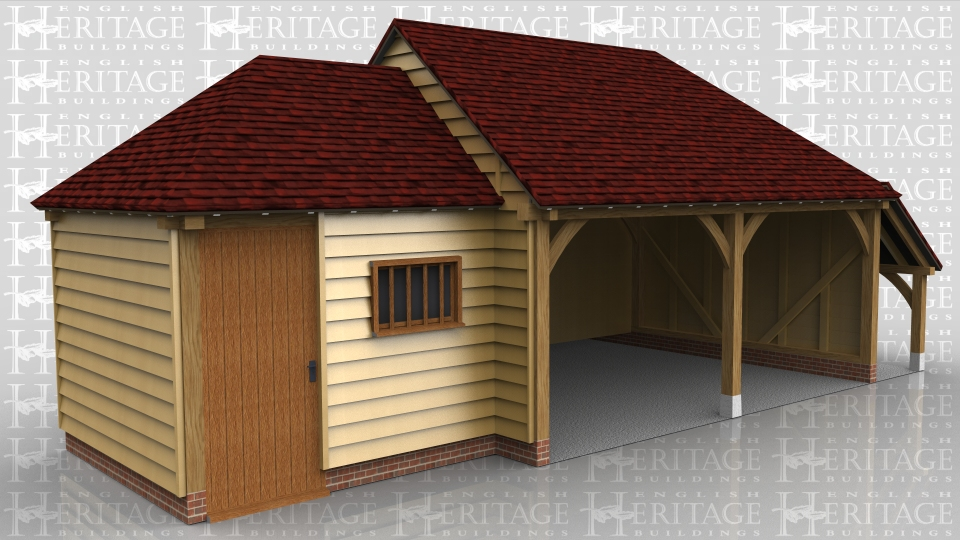 This oak framed garage building has a small workshop/store connected to a two bay open fronted garage with a logstore on the right hand side. The store is accessed by a solid single door and there is also a mullion window.