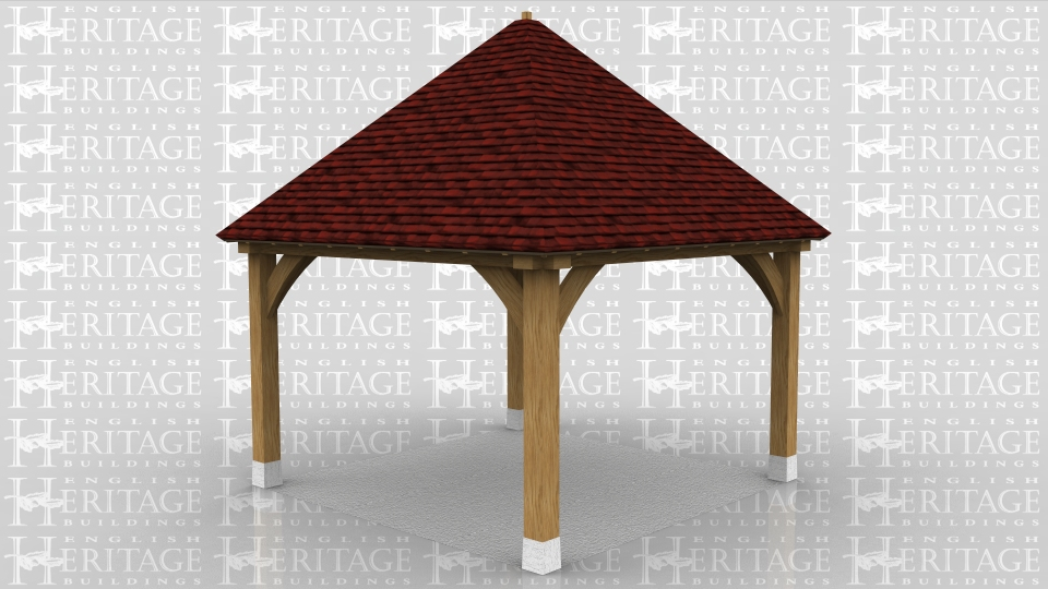 This is a square gazebo with double hipped roof. The top of the roof can either be finished with a leaded finial or a lead cap.