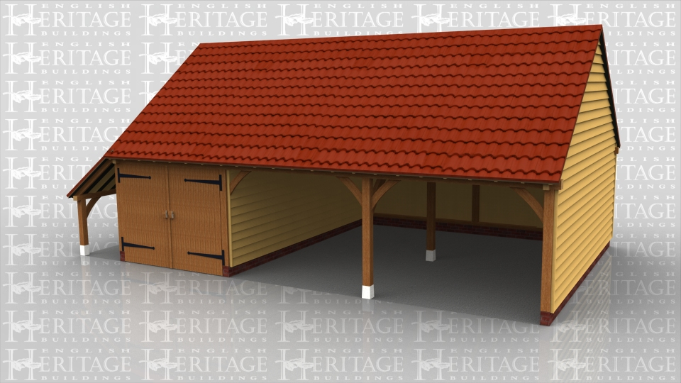 This full span 3 bay garage has gable ends and a log store on the left hand side. One bay is enclosed using a partition and a pair of garage doors, the other 2 bays are open fronted.