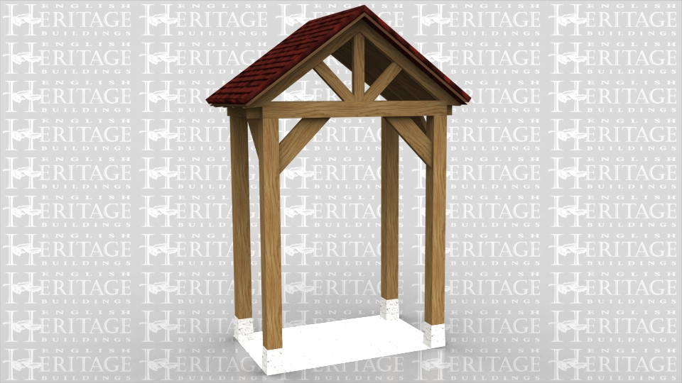 This is a porch with a feature gable at the front. The sides of this porch are completely open.