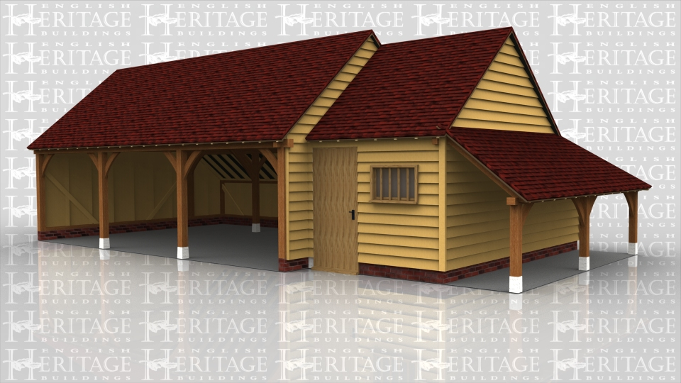 This is a 3 bay open fronted garage with gable ends with a single bay store on the side. The store also has a gable end and a catslide log store on the side. The store is accessed through a solid single door and also has a mullion window.