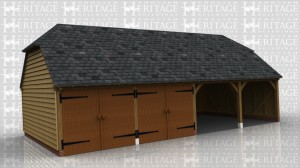 This is a 4 bay full depth garage with barn hip ends. 2 bays are secured with a partition and two pairs of garage doors. There is also a solid single door in the partition to access the enclosed garages.
