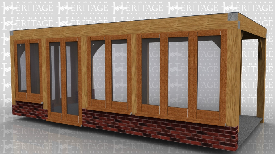 This oak framed flat roofed extension is design to fit into a corner as a garden room extension to a house. The sides are glazed and the glazing sits on dwarf cavity brickwork except where there are the 2 sets of fully glazed doors. The roof on this frame is flat to avoid upstairs windows on the existing property.