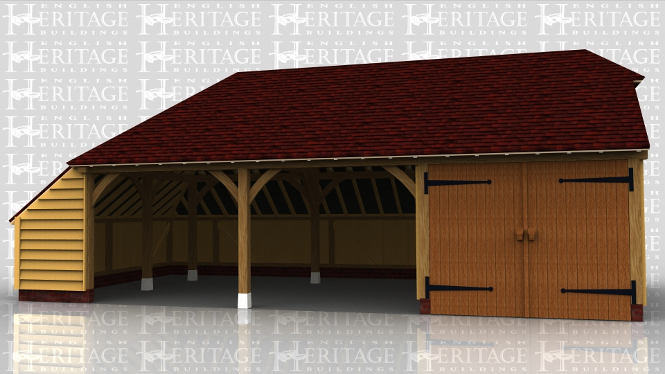 This is a 3 bay oak framed garage with catslide roof on the rear and left hand side. One bay is secured with a partition and a pair of traditional side hung garage doors, and the other 2 bays are open fronted.