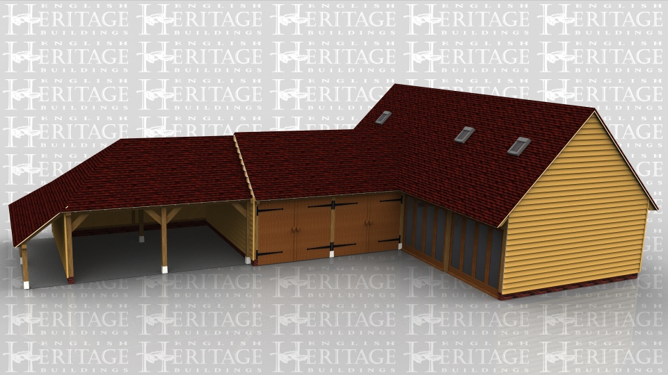 The large building in this oak framed complex is a raised plate design. There is full height glazing to the front of two bays and internally there is a staircase up to the first floor where there are 3 rooflights to allow daylight in. Attached to this frame is a two bay oak garage secured at the front with garage doors. Attached to this frame is an open fronted garage with a catslide roof to the rear and side.