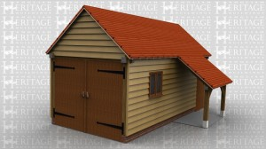 WS00443 Single bay oak framed garage with garage doors