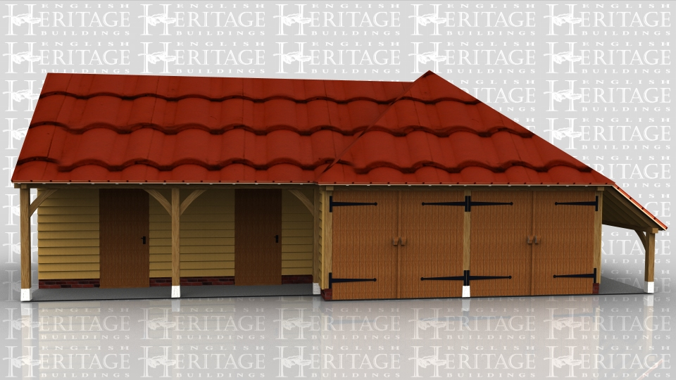 This oak framed complex is formed of two different frames. The first frame is a two bay garage with a set back partition to the front making a porch effect. There is a set of garage doors to the left side and two single doors to the front. The second frame is a two bay garage with two sets of garage doors to the front and an open logstore to the side.