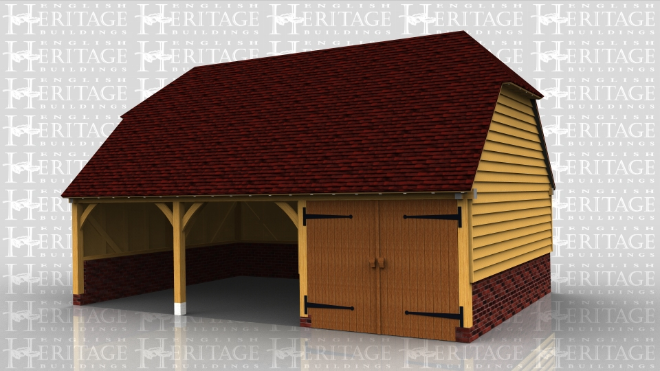 This oak framed garage is sitting on a high brick plinth because of the ground conditions. It has two open bays, with an enclosed bay secured with a partition and pair of garage doors. There is a first floor created with softwood floor joists on steel hangers and this is accessed via a hatch.