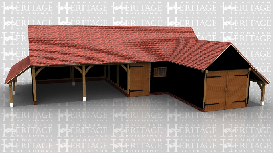 This oak frame complex is comprised of two frames. The first is a four bay garage with gable ends and catslide roofs to the rear and both ends. There are two open fronted bays and the other two are enclosed, one using a partition with solid single door and window in it, and the other by the second one bay frame with attached to the front and is secured with a pair of garage doors on the front. This building also has a log store on the right hand side.