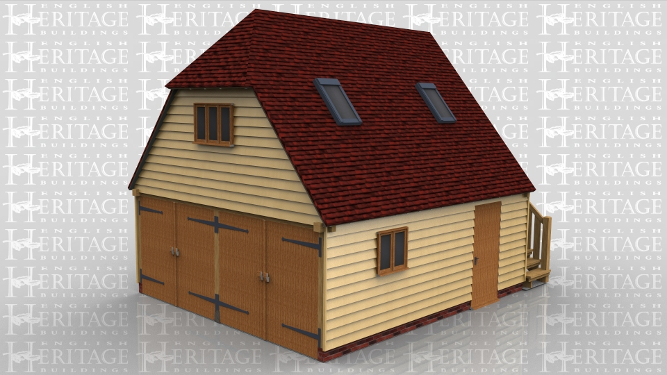This oak frame garage with first floor has a steep roof pitch for more usable space upstairs. The ground floor is a two bay garage secured with two pairs of garage doors. There is also a solid single door and two pane casement window in the side. The first floor is accessed via a an external oak staircase with a solid single door at the top. There is a three pane casement window under the barn hip and two Velux rooflights for more natural light.