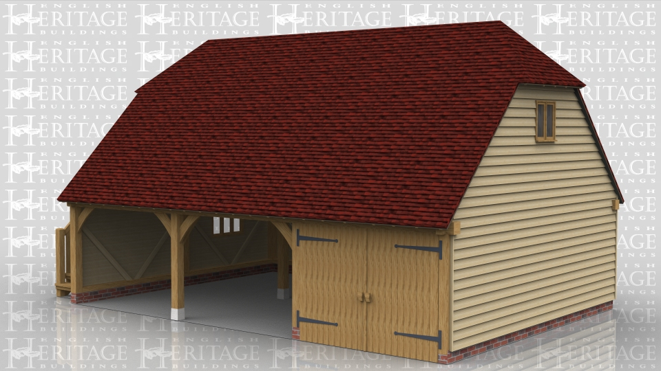 This oak building is a three bay full depth garage with barn hip ends. There is one enclosed bay with a partition, garage doors and a solid single door whilst the other two bays are open fronted. There is an external oak staircase which leads to the first floor through another solid single door. There is a two pane casement window under the barn hip.