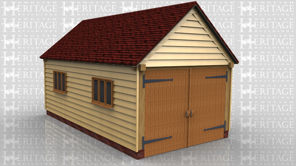 This building is a two bay oak framed garage secured with traditional side hung garage doors on the left side. The roof has gable ends and there are two three pane casement windows to the rear.