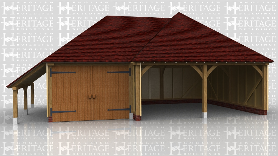 This building is a two bay oak framed open fronted garage with hipped ends with a single bay garage garage with log store on the left hand side. The single garage has garage doors on the front.