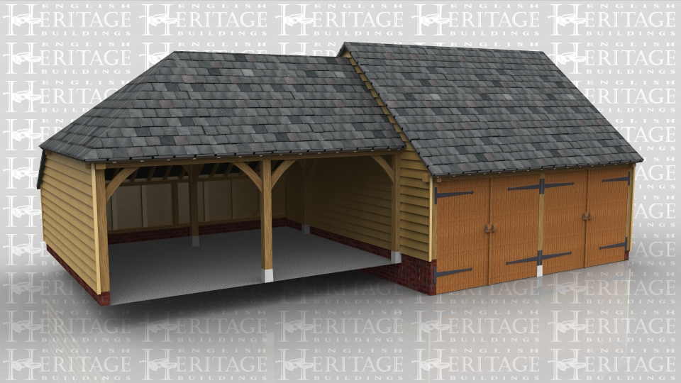 This oak framed building is two double garages set at different levels to take into account the fall of the ground. One two bay garage is enclosed with garage doors on the front and the other is open fronted and has a rear catslide.