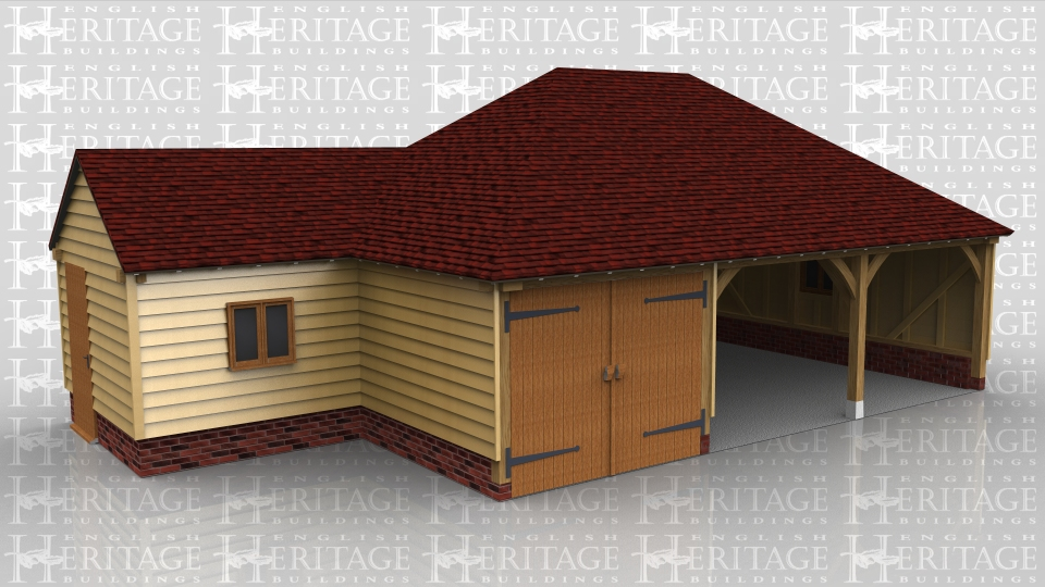 This oak framed building is a full span three bay garage with hipped ends. One bay is partitioned off and secured with garage doors. Attached to the side is a small store that has a solid single door and two pane casement window in the outer walls and a door opening through into the enclosed garage.