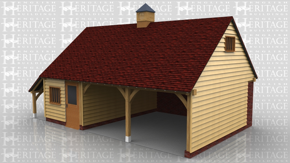 This oak framed garage building has a rear wall in full height brickwork.There are two open fronted parking bays and the third bay is enclosed with partitions and has a half glazed single door and mullion window in the front elevation. There are also mullion windows in both gables and a clock tower in the centre of the roof. There is a catslide roof on the left hand end making an open log store.