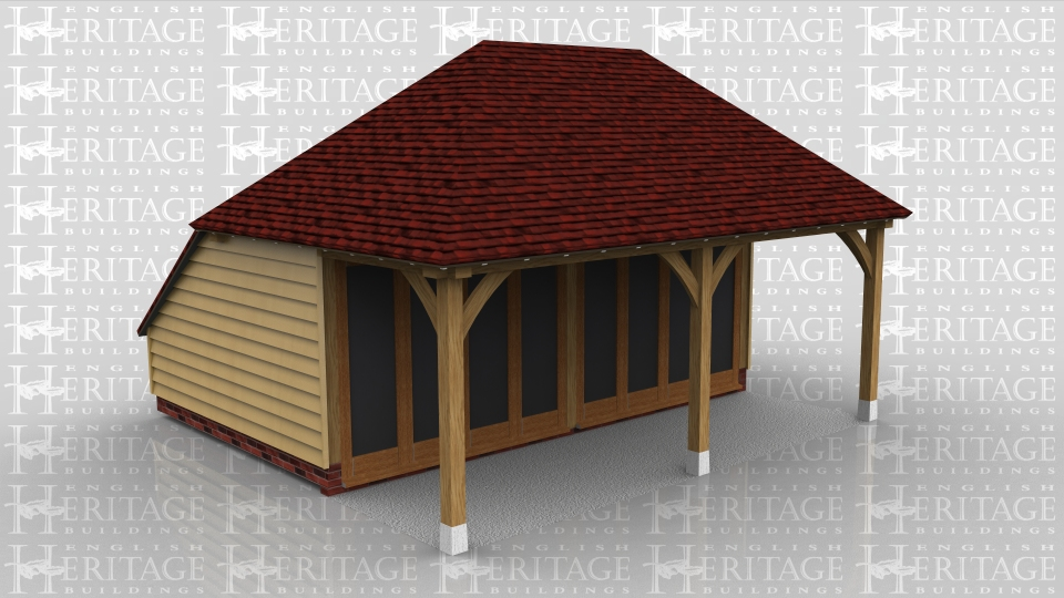 This oak frame is a small summerhouse/garden room. The front glazed units, which are both opening, are set back to create a covered sitting area. The roof  is hipped and has a catslide at the rear.