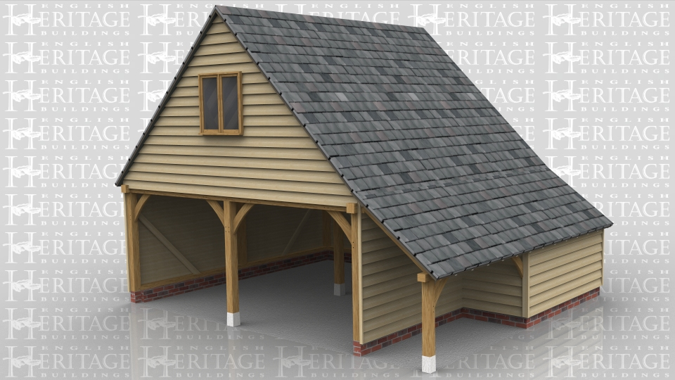 This two bay open side oak framed garage with first floor has gable ends and a half enclosed, half open logstore to the front. At the right side there is an external oak staircase which leads to a solid single door. There is also a two pane casement window in the left gable end.