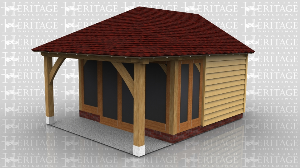 This oak frame is used as a small summerhouse/garden room. The fully glazed unit on the front is set back so there is a small veranda. Part of the side walls are glazed and the rest along with the rear are clad in weatherboard.. At the rear is a small enclosed logstore accessed via a small door at the end.