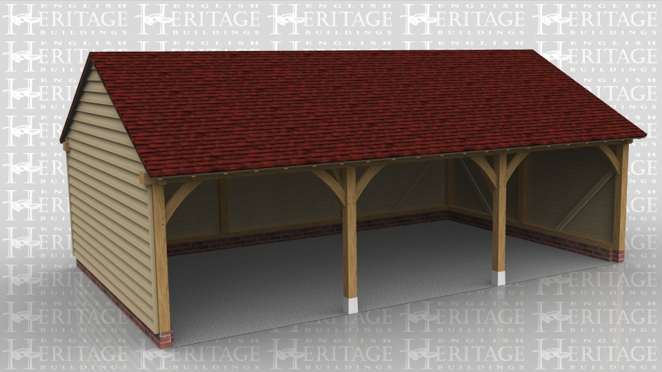 This oak framed garage has three bays for parking, all open fronted.