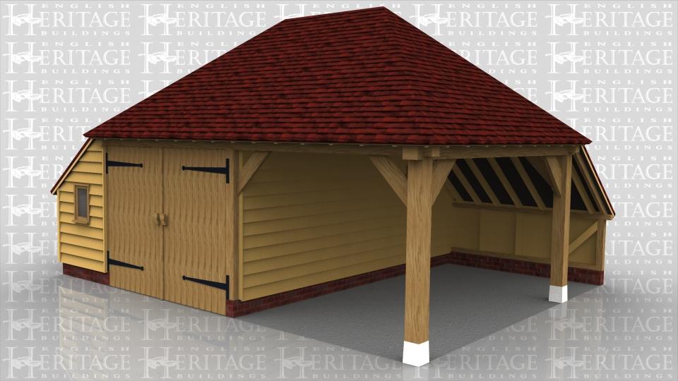 2 bay oak frame garage 1 enclosed bay hipped roof for Due bay garage