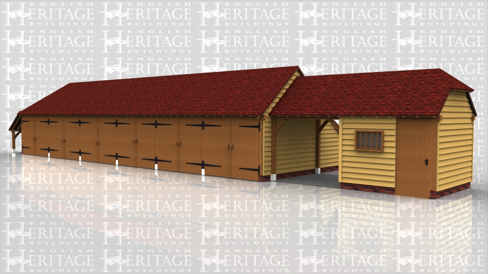 This oak building comprises of a six bay garage which has garage doors on the front of each bay and a log store on the left hand side. Attached to this is a two bay oak frame where one bay is an enclosed store with a solid single door and mullion window and the other bay is open front and back to form a drive through garage.