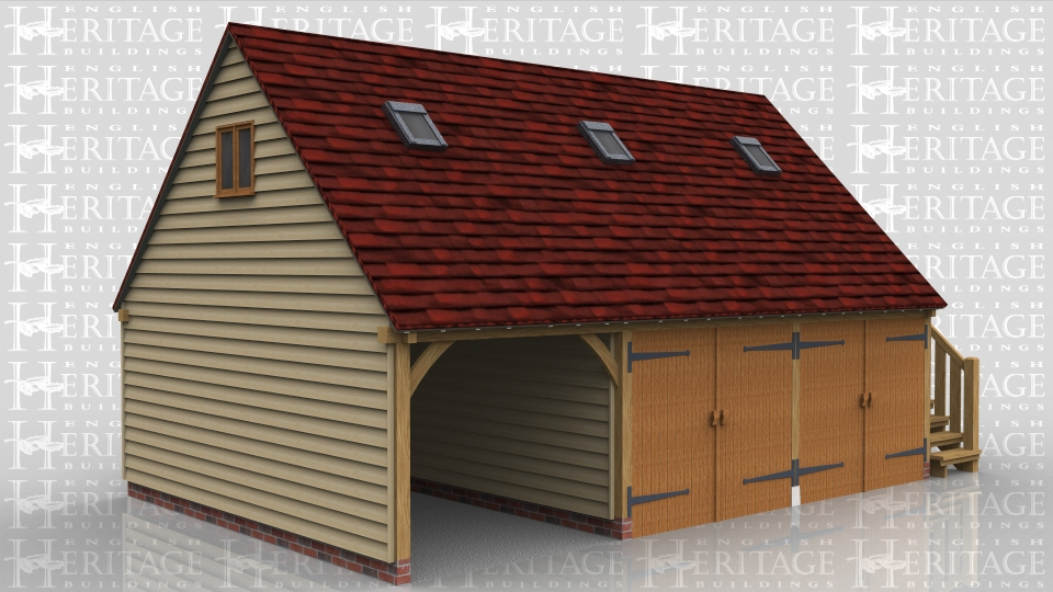 This is a three bay oak framed garage with first floor. There is one open fronted bay and the other two are enclosed using a partition and two pairs of garage doors. The first floor is accessed through a solid single door at the top of an external oak staircase.There are six Velux conservation rooflights in the front of the roof and a two pane escape casement window in the gable.