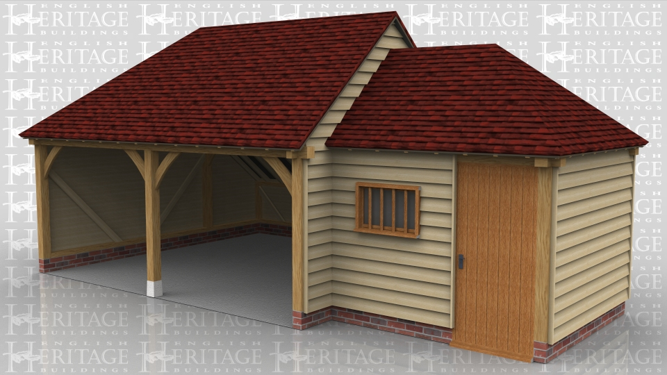 This building is a two bay open fronted oak framed garage with rear logstore. Attached to the side is a small store/workshop with a solid single door and mullion window.