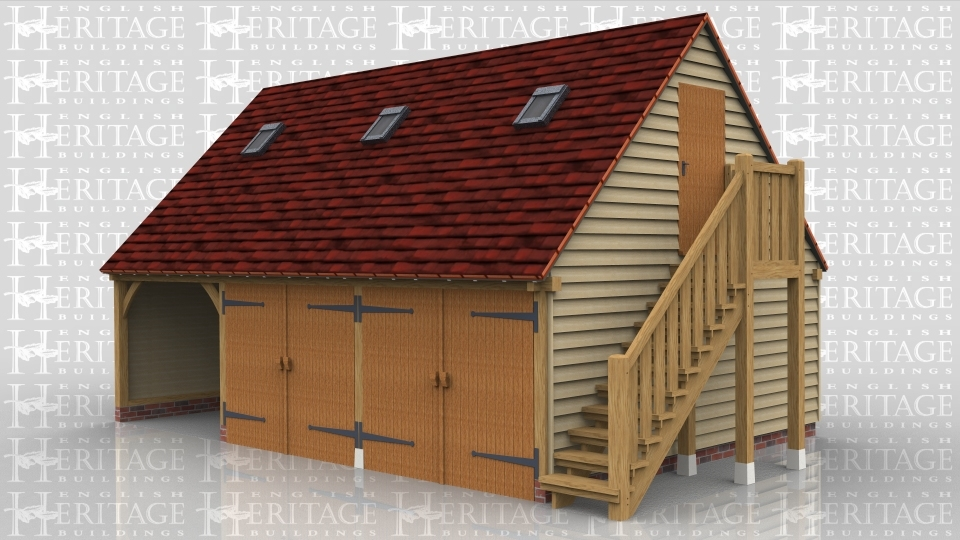 This oak framed garage with an upper floor is formed of three bays. The first bay is open fronted and the other two are accessed via two sets of garage doors to the front. The first floor is accessed via an external oak staircase to the right side and a single solid door. There are trimmings for three rooflights and a two pane window on the left side.