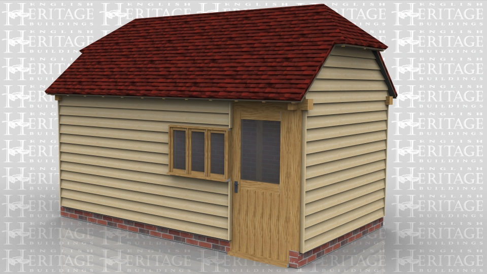 This two bay oak framed garage has brick infill down one side where it is near a boundary. The garage is enclosed with a pair of garage doors to the left side and there is also access through a half glazed single door. There is also a three pane casement window in the side.