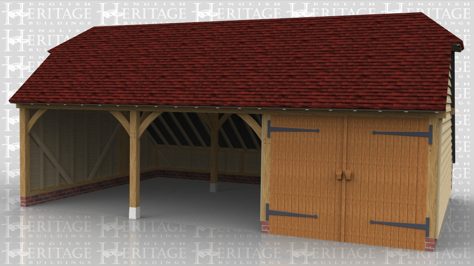 This three bay oak framed garage has barn hip ends and an enclosed store to the rear. One bay is enclosed with a partition and a pair of garage doors leaving the other two bays as open fronted parking spaces.