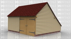 This is a two bay oak framed building with one bay as an enclosed workshop and the other bay a secure parking space with garage doors on the front. There are two solid single doors, one into the workshop and the other one between the workshop and the garage.