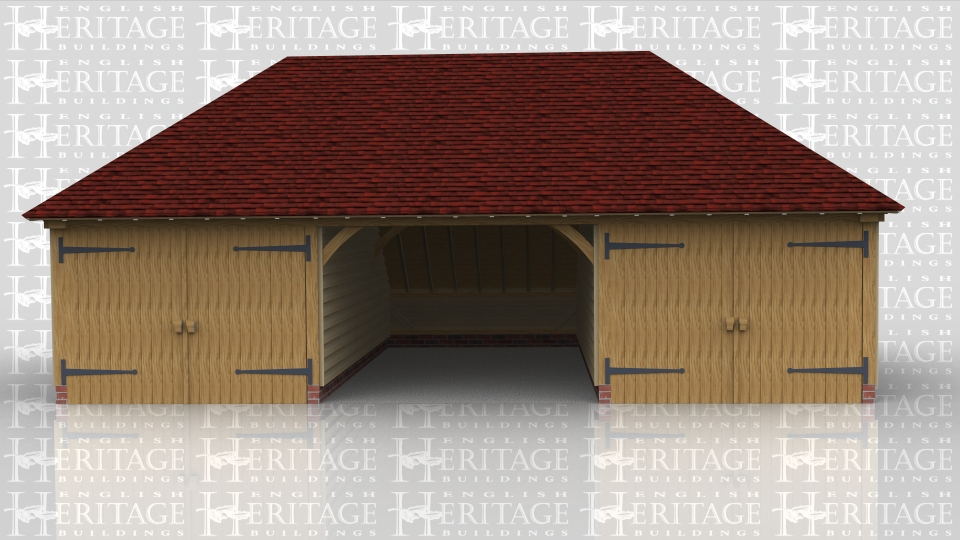 This three bay oak framed garage has hipped ends and an enclosed rear logstore. The bays are wider than normal to give that little bit of extra room as the outside two bays are enclosed with partitions annd garage doors leaving the centre bay open at the front.