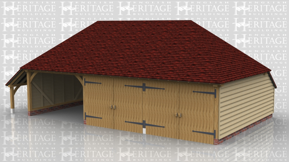 This oak framed building is a three bay garage with hipped ends and a catslide roof on the rear and left hand side. Two bays are enclosed with a partition and two pairs of garage doors and the third bay is open at the front.