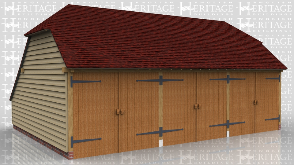 This is a three bay oak framed garage with hipped ends and an enclosed store to the rear. All three bays are enclosed and accessed via three sets of garage doors to the front.