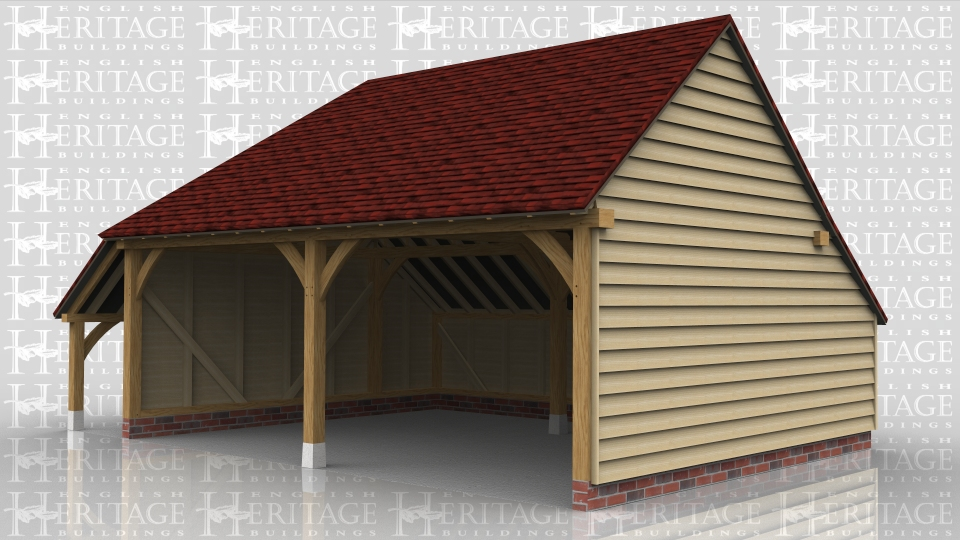 This two bay oak framed garage has slightly wider bays and is open at the front. There is an enclosed store at the rear and an open logstore on the side.