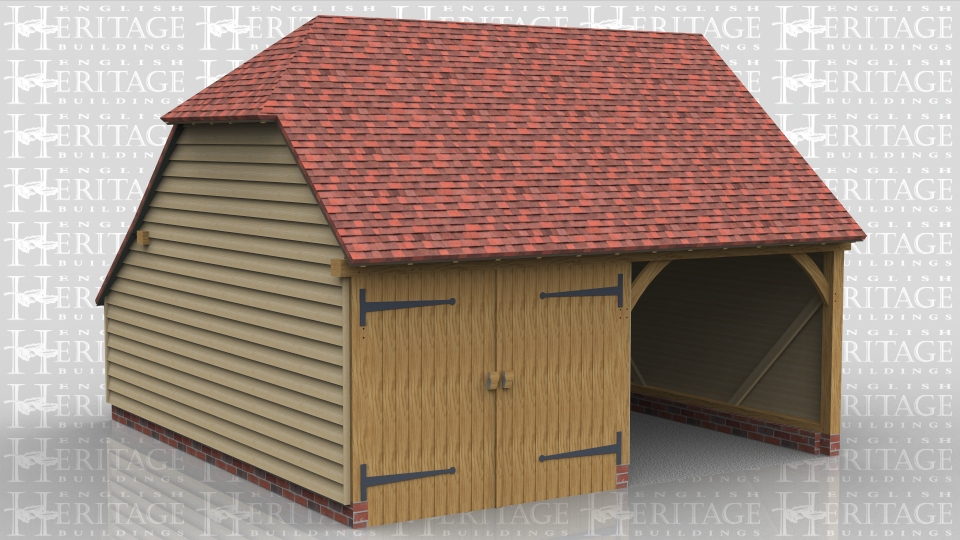 This is a two bay oak framed garage with a barn hip on the left, a gable on the right and an enclosed store to the rear. One bay is open fronted and the other is enclosed with a partition and a pair of garage doors.