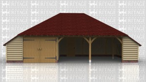 This oak garage is a three bay full depth with hip ends and enclosed logstores to each end. The left hand bay is enclosed with a partition and pair of garage doors and there is also a solid single door in the rear of the centre bay.