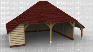 This oak frame is a two bay open fronted garage with hipped ends. There is an enclosed store to the left side and rear, and an open logstore to the right.
