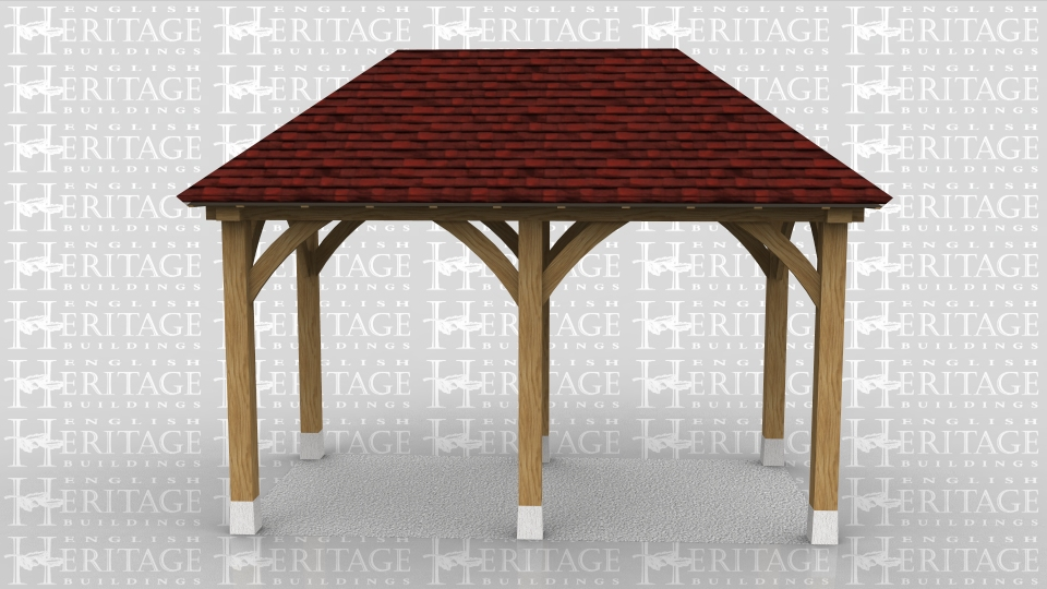 This oak frame is a small oak gazebo or cover for a BBQ. It is open on all sides and sits on staddle stone. Both roof ends are hipped.