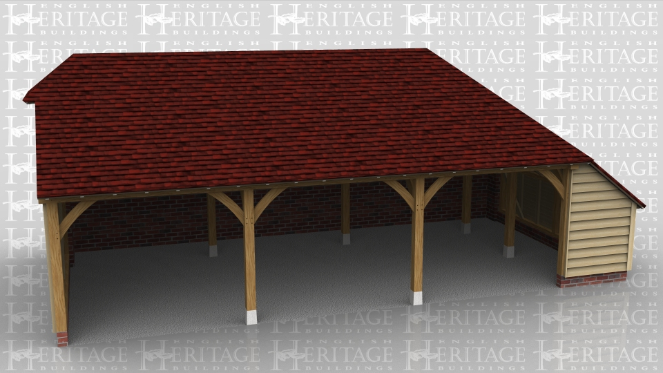 This oak framed building is a three bay open fronted garage with an enclosed store on the rear and right hand side. The rear store roof is sitting on a brick retaining wall.